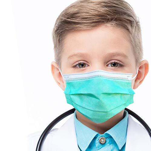 azurano Einweg Alltagsmaske Gesichtsmaske Behelfsmaske | 50 Stück Kinder Grün | 3-lagige Mund-Nasen-Bedeckung aus weichem Vlies | atmungsaktiv | geruchsneutral