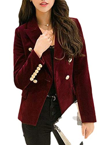 Sweetmini Vrouwen Office Lady Een Knop Notch Lapel Velour Jas Blazer Jassen