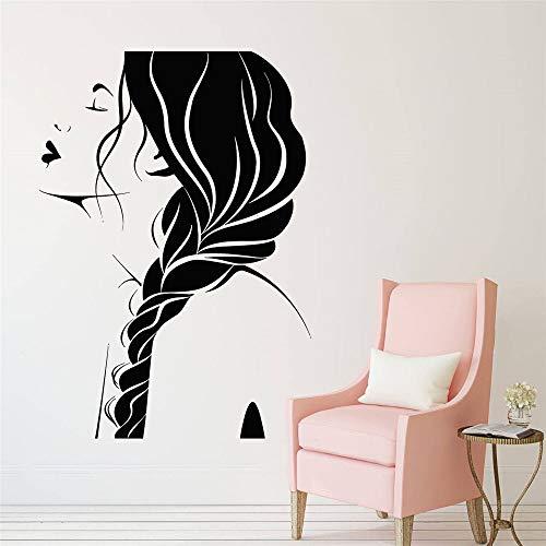Geiqianjiumai Schönheitssalon Haar Mädchen Gesicht Frisur Friseurladen Logo Vinyl dekorative Wand Fenster Wandaufkleber Deka Tapete schwarz 42x58cm
