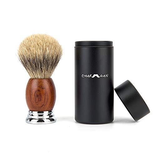 CHARMMAN Badger Hair Shaving Brush with Black Aluminium Travel Tube, Natural Pear Wooden Handle + Heavy Duty Alloy Base