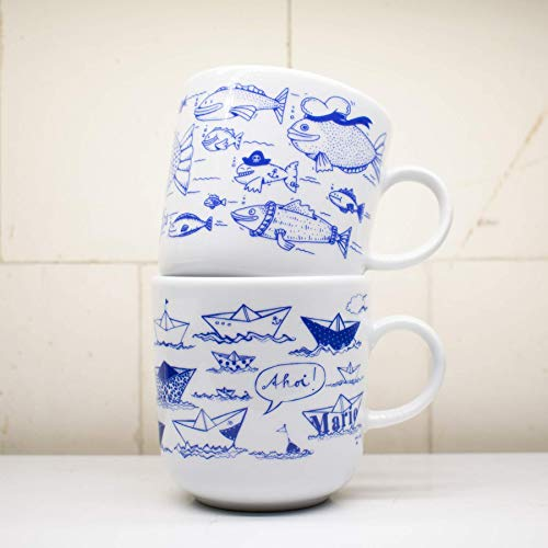 AHOI MARIE Becher Design Piet Hamburg maritim Kaffeebecher KAHLA weiß blau