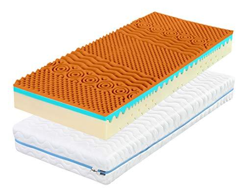 Matt Boss Five Star 3D Materasso | 7 Zone, 90 x 200 x 18 cm Materasso in Schiuma per Letto Singolo, con la Copertura Lavabile | incollato per Ogni Letto, Non-connessione, ortopedici