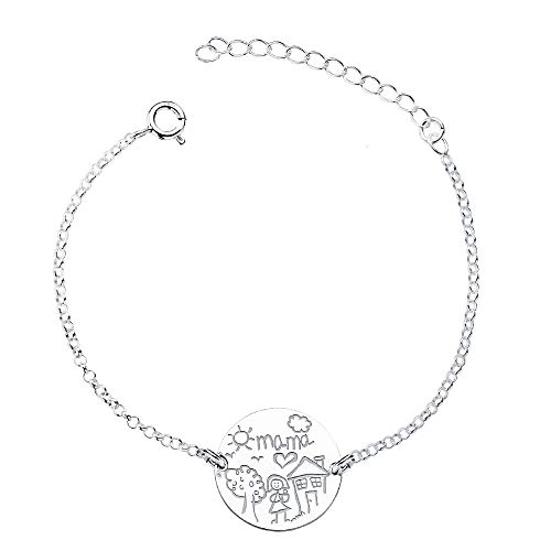 Iyé Biyé Jewels - Pulsera Mujer Chapa Redonda 18 mm día de la Madre Plata de Ley 925 Cadena Forzada 15+4 cm Ajustable
