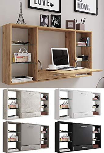 VCM Wandschreibtisch Wandtisch Schreibtisch Wandregal Bürotisch Teala Honig-Eiche