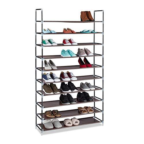Relaxdays Zapatero de Tela, 175,5 x 100 x 29 cm, para 50 Pares de Zapatos, 10 Niveles, Sistema de Ranuras, XXL, Color marrón
