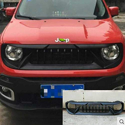 QQKLP Qualität ABS Black UNPAINT CAR FRONTSCHÜRZE Racing Gitter Gitter Round Trim Cover FIT for Jeep Renegade 2016 2017 2018 2019,A02
