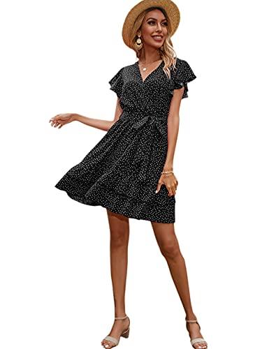 SheIn Vestido de verano para mujer con volantes y patrón de lunares, bohemio, línea A, manga corta, plegable, con cinturón. Negro M