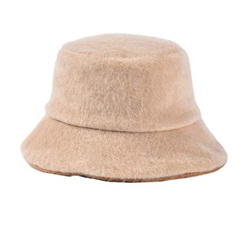 Youliy Wintermütze, dick, warm, einfarbig, Kunstsamt beige
