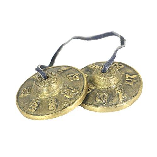 Tibetische Tingsha aus Messig (Gebet Glocken) Geschnitzt Becken Bell mit Drachen