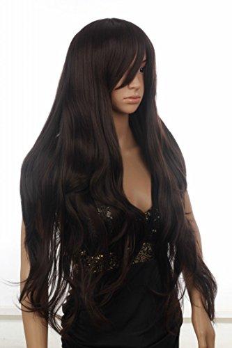 Prettyland C256 - perruque extra longue noire marron lisse légèrement ondulée étagée avec poney long latéral