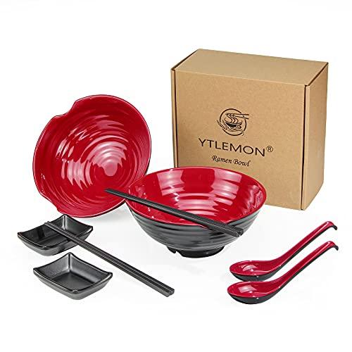 YTLEMON Ramen Schüssel Set, 2 Set Japanische Nudel Suppen Schüssel, 1048ml Kreative Salatschüsseln mit Stäbchen, Löffel und DipschaleSchälchen, für Udon Soba Pho Asiatische Nudeln Pasta (Rot)