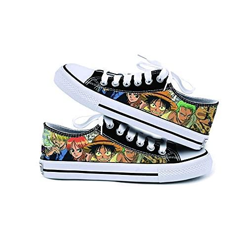JPTYJ One Piece Monkey·D·Luffy/Roronoa Zoro Zapatos de Lona Graffiti de Corte bajo, Unisex, Zapatos de Anime, Zapatos Casuales, Estudiantes, Zapatillas de Deporte B-35