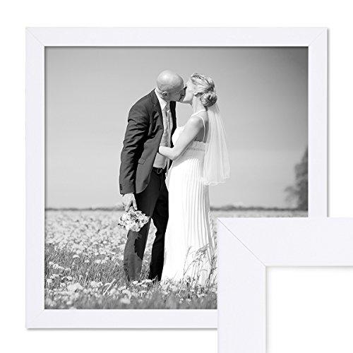 PHOTOLINI Bilderrahmen 30x30 cm Weiss Modern aus MDF mit Glasscheibe und Zubehör/Fotorahmen
