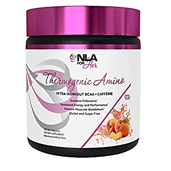 NLA for Her Thermogenic Amino -  Sweet Georgia Peach - 30 Servings  Pre-Intra-Post-Workout BCAA Essential Amino Acids Powder for Women  w Caffeine  - Sustained Energy Focus Performance and Endurance