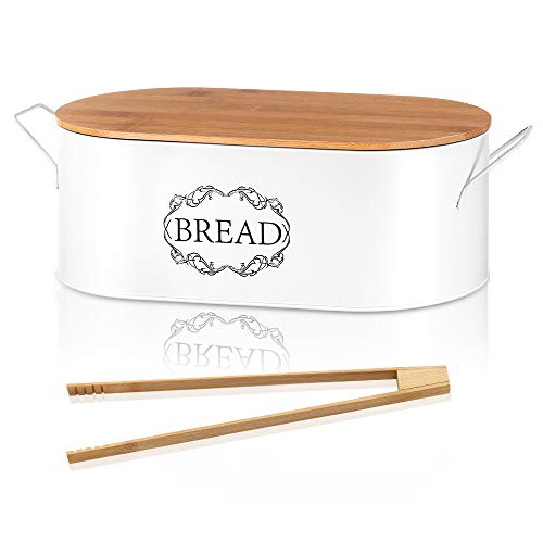 Bread Box with Handles & Bamboo Tongs, Modern Metal Bread Bin Bamboo Cutting Board Lid, Large Bread Storage Organizer Bread Container Space Saving Bread Holder for Kitchen Counter (40 x18 x12cm)