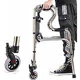WANGXNCase Andador con Ruedas Vertical con Respaldo y Asiento Acolchado, Ayuda para Caminar de pie Extra Ancha para Personas Mayores Altas, Adultos y discapacitados
