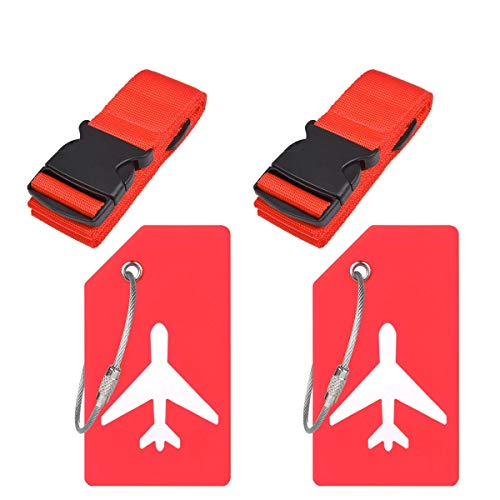 Travel Luggage Accessories with Adjustable Luggage Strap Suitcase Belt Bag Straps and Silicon Luggage Tags Name ID Card by Ovener