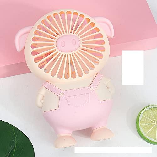 Ventilador de dibujos animados lindo cerdo de carga pequeño ventilador con luz adecuado para mini ventilador de oficina, deportes al aire libre, viajes familiares