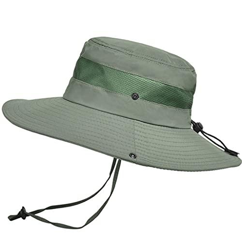 QIFFIY Sunhat Summer Transpirable Mess Sun Perrero Sombrero Hombre Pesca al Aire Libre Montajeerering Grandes Aleros Pescador Hat Mujeres (Color : Army Green)