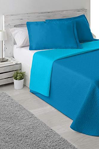 Cabello Textil Hogar - Colcha Bouti Bi-Color de Microfibra Transpirable con Funda de cojín Mod. Color Mix (Turquesa/Azul, Cama de 90 cm (180_x_265 cm))