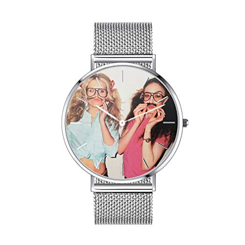 Imagen Personal Reloj Redondo Cinta de Cuero Artificial Falso Verdadero Plata Pulsera Reloj Moderno Circular Esfera Personalizado de Fotos Textos Nombres Fechas Grabar
