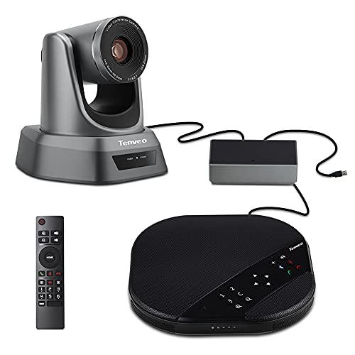 Tenveo VA3000 10X optische zoom USB PTZ webcam, 1080P Full HD Conferentiecamera met Speakerphone en Bluetooth, Ondersteuning Cisco/Poly/Zoom/WebEx voor Zakelijke Vergadering
