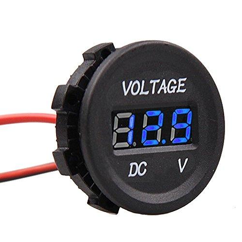 E Support™ KFZ 12V 24V Wasserdicht Digital Voltmeter Messbereich Blau LED Spannungsanzeige Für Auto Motorrad LKW