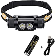 Headlamp, 1200 Lumen Rechargeable Headlamp Flashlight, Bright SST40 LED with 18650 Battery(Inserted), Waterproof, for Kids and Adults, for Camping, Running, Hiking, Emergency, Outdoor