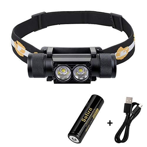 Headlamp, 1200 Lumen Rechargeable Head Flashlight with 18650 Battery (Inserted) for Running Camping Hiking Outdoor, Upgraded Version