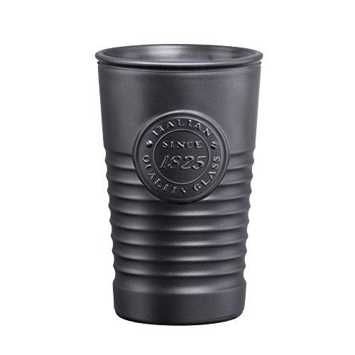 Vasos para agua metálicos modelo Officina 1825, color gris oscuro 11.4 oz/325ml–paquete de 6unidades–Vasos de vidrio pintados