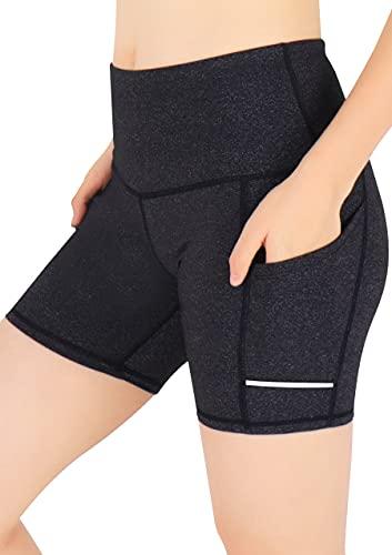 GRAT.UNIC Pantalón Corto Deportivo para Mujer, Running Pantalones Cortos de Yoga con Bolsillo Lateral, Fitness Mallas Deportivas (Gris(un Cuarto), L)