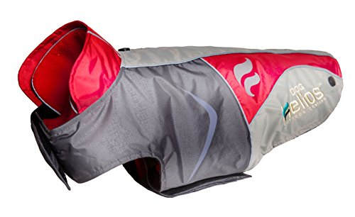 DOGHELIOS 'Lotus-Rusher' Waterproof 2-in-1 Pet Dog Jacket Coat with Removable Polar Fleece Lining w/Blackshark Technology, Large, Red, Charcoal Grey, Light...