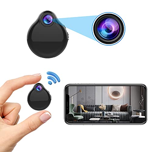 Spy Camera Mini Hidden WiFi Camera HD 1080P with Audio Night Vision and Motion Detection,Nanny Surveillance Cam with Phone App,Built-in Battery,32Gb SD Card for Home Office Indoor Outdoor Security