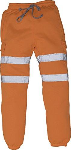 Yoko - Pantaloni da jogging da uomo, comodi, ad alta visibilità, riflettenti Arancione XXL