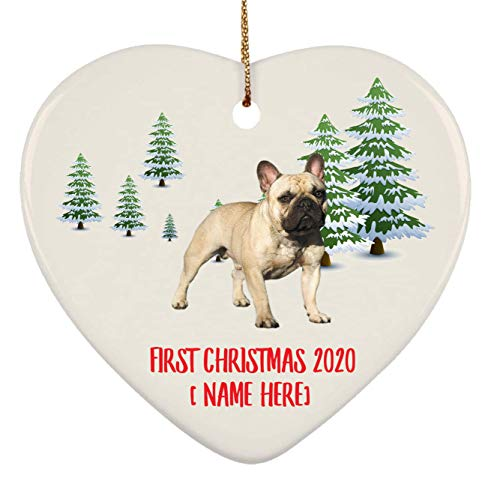 Personalized French Bulldog Fawn Grey Ornaments First Christmas 2020 Tree On Winter Landscape Ceramic Heart