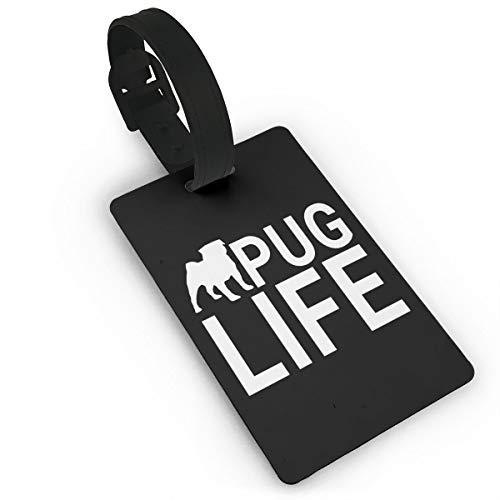 Etiquetas para equipaje de perro Pug Life para maleta, tarjeta de visita, tarjeta de identificación de viaje, paquete de etiquetas, blanco (Negro) - Lg87pfb-24799108