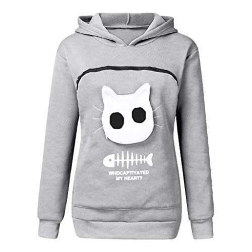 MOHOLL Womens Hoodies Pet Holder Cat Dog Kangaroo Pouch Carriers Kitten Puppy Animal Pouch Pullover Hood Sweatshirt