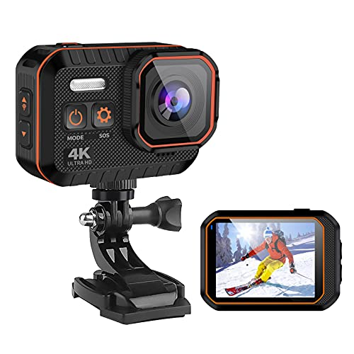 Action Camera 4K 60FPS 16MP WiFi Sports Camera IPX8 33FT Waterproof Camera EIS 170° Wide Angle Underwater Camera with Remote Control Accessories Kit and Carrying Case