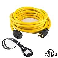 50 FEET Heavy Duty Generator Locking power cord NEMA L14-30P/L14-30R,4 prong 10 Gauge SJTW Cable, 125/250V 30Amp 7500 Watts Yellow Generator Lock Extension Cord With UL listed Yodotek