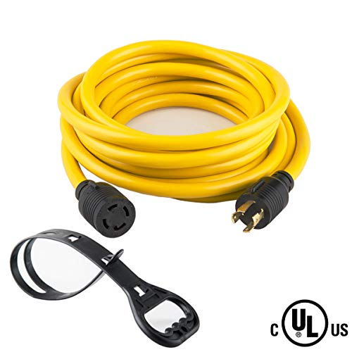 Mejor 50 FEET Heavy Duty Generator Locking power cord NEMA L14-30P/L14-30R,4 prong 10 Gauge SJTW Cable, 125/250V 30Amp 7500 Watts Yellow Generator Lock Extension Cord With UL listed Yodotek crítica 2020