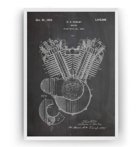 Harley Davidson Engine 1923 Patent Print Art - Poster Motorbike Gift Motorcycle Poster Vintage Blueprint Retro Biker Wall Decor - Frame Not Included
