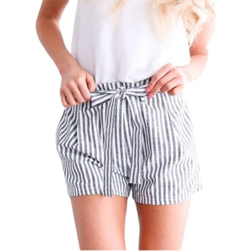 Pantalones Cortos para Mujer Verano Pantalones Cortos Casuales de Bolsillo a Rayas clásicos Europeos y...