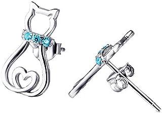 Boucles d'oreilles pour chat en argent sterling avec zircons cubiques roses Cadeaux pour les amoureux des chats Femmes Filles