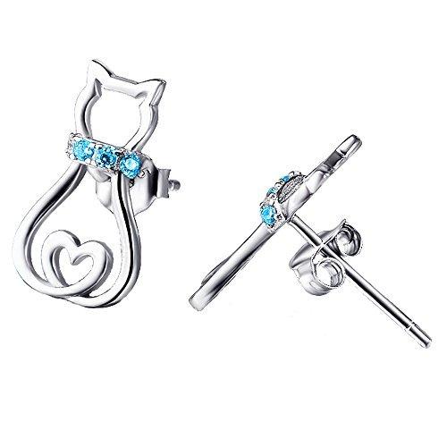 Chat Boucles d'oreilles 925 Argent Sterling Oxyde de Zirconium Bleu Boucles d'oreille Bijoux pour les amateurs de chat femmes fille (bleu)