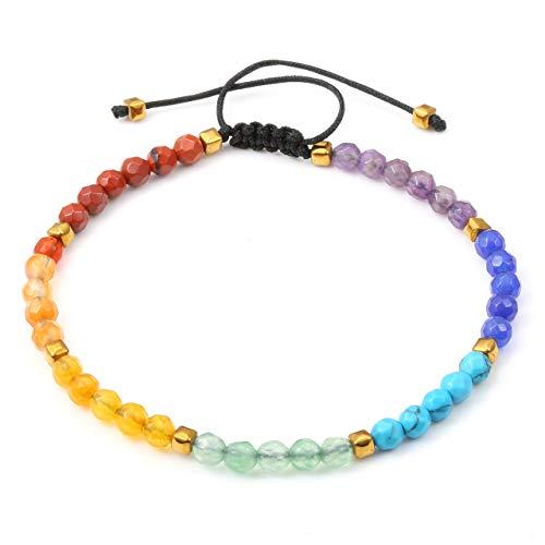JSDDE Damen Edelstein Armband 7 Chakra Armbänder Heilung Perlenarmabnd Lavastein Armkette geflochten Armreif Modeschmuck 7 Chakra