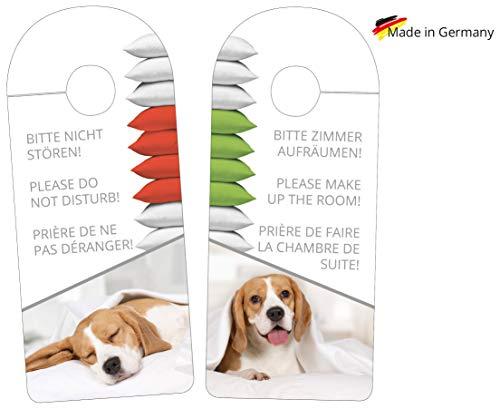Hotel Türanhänger, Türschild Bitte Nicht stören, Please do not Disturb, besetzt oder frei Motiv Hund für Zimmervermietungen, Pensionen oder Gäste Apartment zum feucht Abwischen