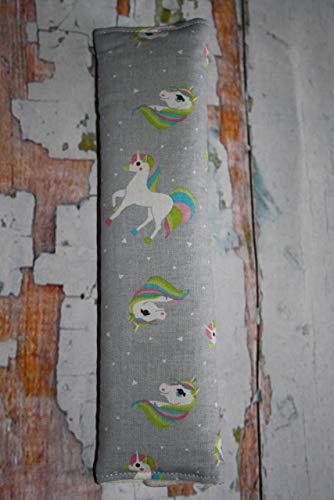 Auto Gurtpolster für Kinder und Erwachsene grau mit Einhorn Unicorn