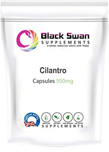 Black Swan Cilantro 500mg Capsules Supplement – with Anti-oxidant Properties – Healthy Skin – Digestive System – Immune Health (30 caps)