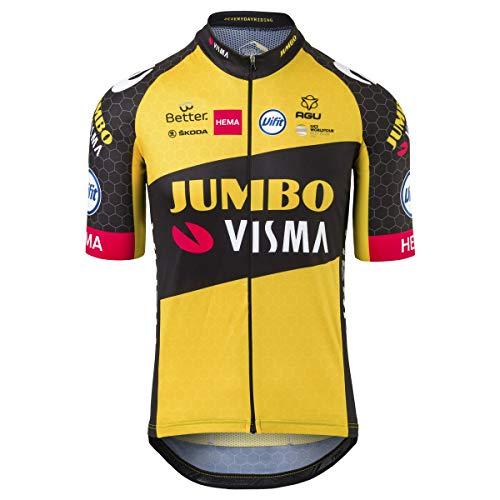 AGU Replica Team Jumbo Visma 2021 Uomo, Maglia Ciclismo da Uomo, Abbigliamento Ufficiale da Bicicletta del Team Professionale di Ciclismo Jumbo Visma - Giallo - M