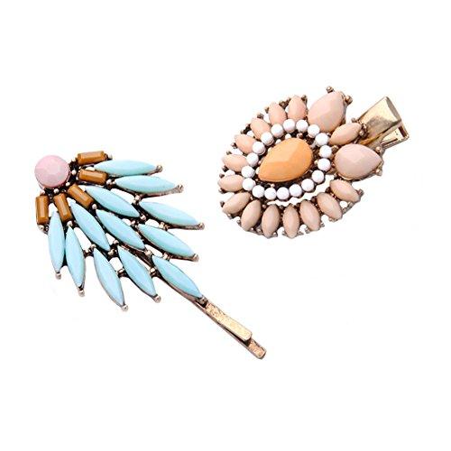 2 Retro Boho Bohemian Tribal Gem Stone Studded Gold Hair Clip Bobby Pin Accessories Set